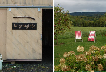 The sign at La Garagista; summer lawn furniture