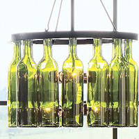 Pottery Barn's bottle chandelier