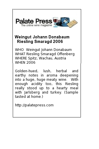 weingut johann donabaum riesling smaragd 2006 palate press. Black Bedroom Furniture Sets. Home Design Ideas