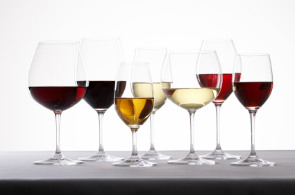 different wine glasses