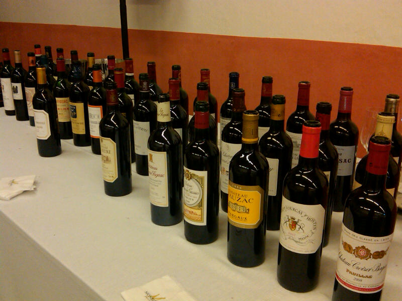 Bottles lined up at an en primeur event in April 2011.