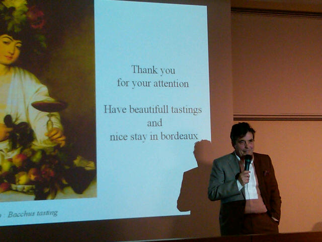 Professor Denis Dubourdieu presenting at Bordeaux en primeur in 2011.