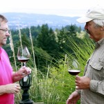 Sure, wine writers can usually get access to some of the big names. Here I am chatting with Don Lange, one of the real icons of the Willamette Valley. But any tasting room visitor still might run into a winemaker or winery owner in the Valley. That's one of the charms of Oregon wineries that bigger areas lost a long time ago.