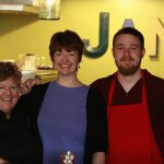 "Lynnette Shaw, Amy Wilder, and Charlie their ""Jamprentice"" at the Republic of Jam. Purveyors of gourmet preserves in Carlton, OR made using Willamette Valley fruit."