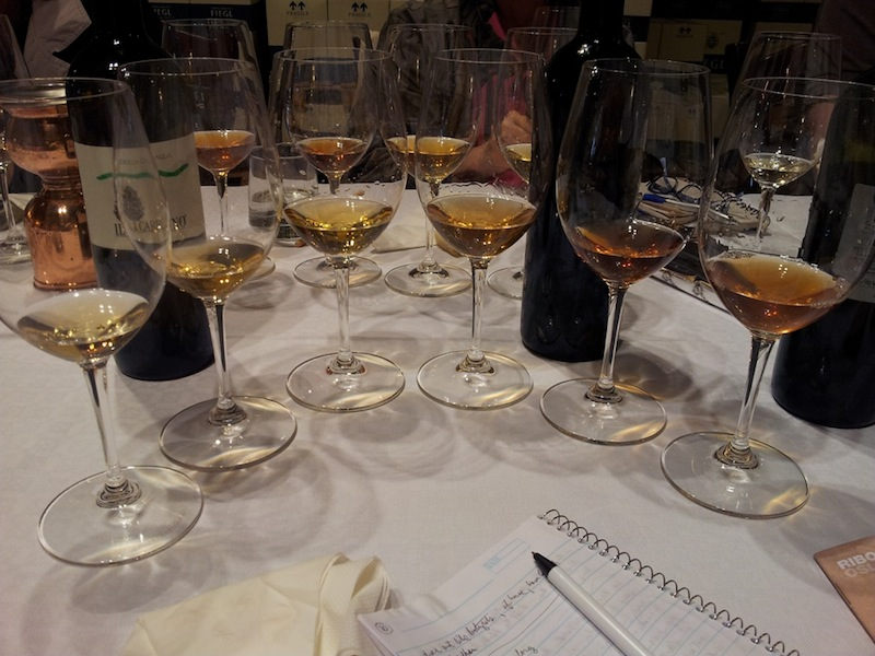 The range of skin-contact wines tasted in Oslavia