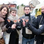 A group of peole enjoying some CrÈmant RosÈ