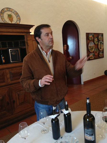 Winemaker Luis Cabral de Alemeida leading tasting at Herdade Do Peso