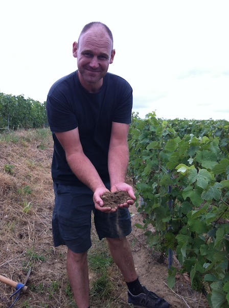 D Bourdaire with the clay and limestone soil of the Massif de St Thierry