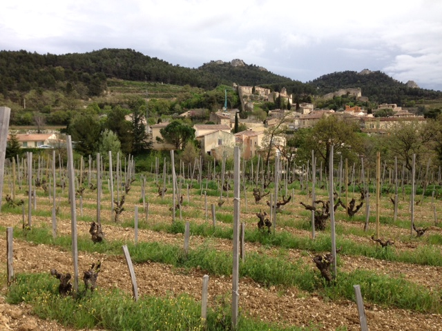 Saint Cosme vines, village of Gigondas beyond
