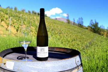 A bottle of Mount Edward riesling is pictured against a background of riesling vines.