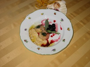 Roasted rabbit with cherry sauce