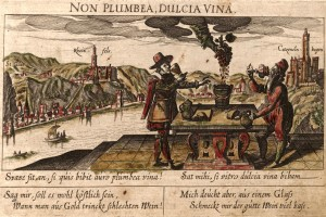 "Loosely translated, this 1627 German engraving says ""I'd rather drink good wine from glass than leaden wine from gold."""