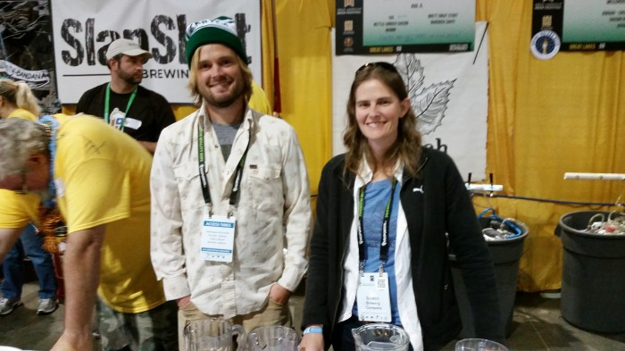 Aaron Kleidon and Marika Josephson, two of the three co-owners of Scratch Brewing Company.