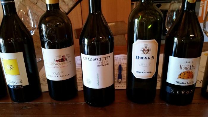 Center: the newly designed Collio bottle from Gradis'ciutta Winery