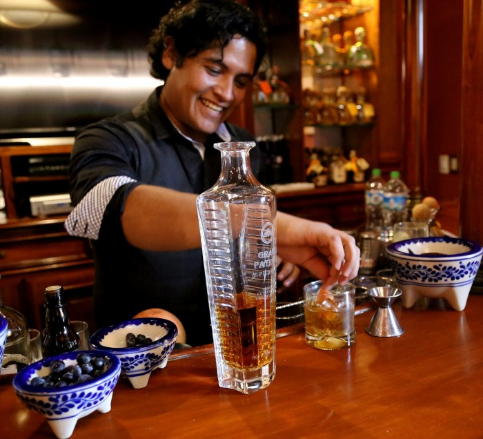 Andres Moran makes an Old Fashioned