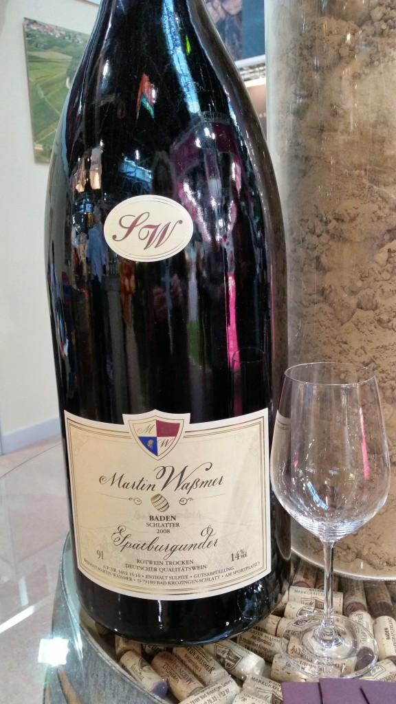 A nine-liter (Salamanazar) bottle of German Pinot Noir.