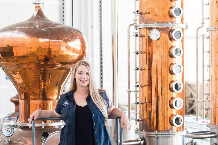 Head distiller Caley Shoemaker (photo courtesy Hangar 1)