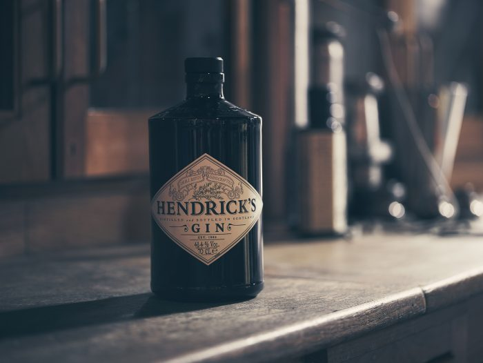 Hendrick's bottle on workbench