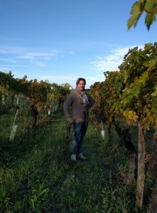 Matteo Cantoni poses with 100-year-old Sangiovese vines